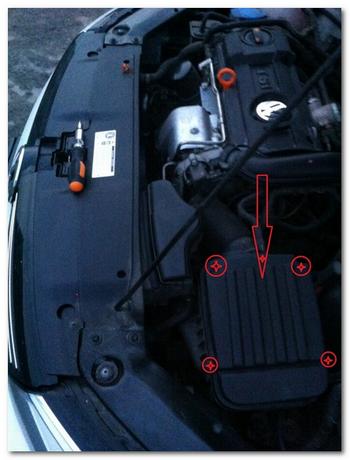 замена воздушного фильтра VW Jetta