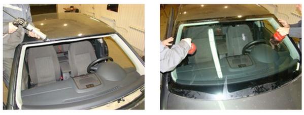 установка лобовика на VW Jetta