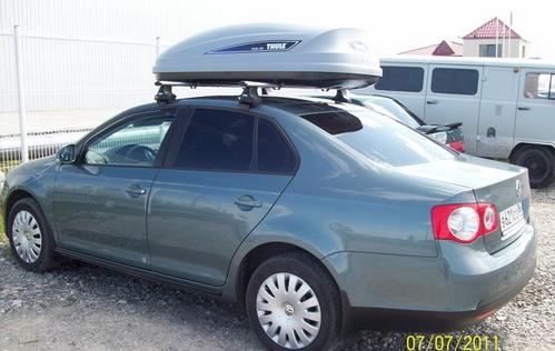 Автобокс Thule для VW Jetta. Цена вопроса дуги + бокс около 35000 рублей.